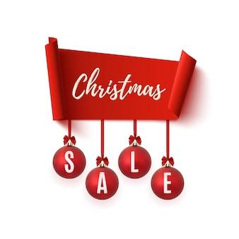 Banner de venta de navidad con adornos para árboles de navidad aislado sobre fondo blanco.