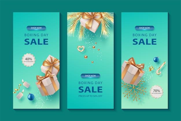 Banner de venta de navidad y año nuevo con cajas de regalo cayendo
