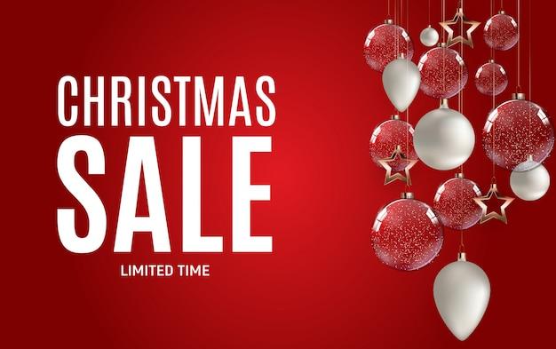 Banner de venta de navidad y año nuevo con decoración