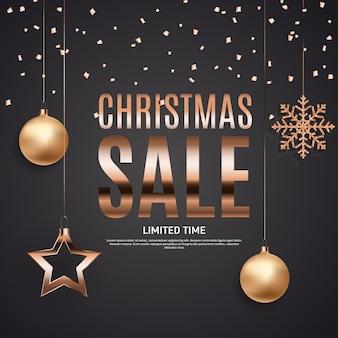 Banner de venta de navidad y año nuevo