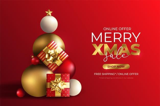Banner de venta de navidad con árbol hecho de regalos.