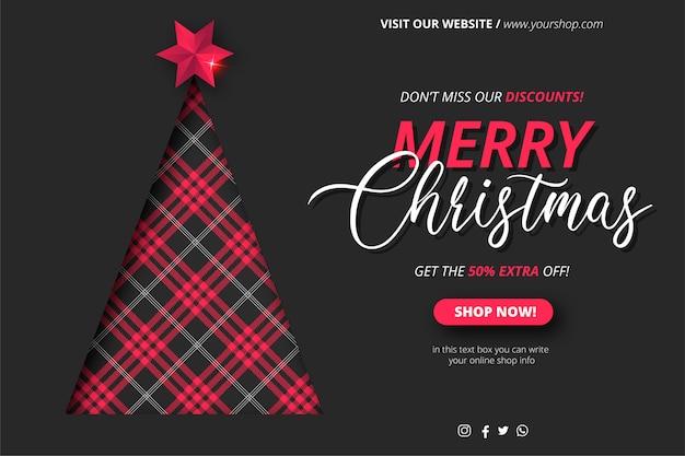 Banner de venta de navidad con árbol de navidad en patrón de tartán