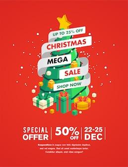 Banner de venta de navidad con árbol de navidad y presente ilustración