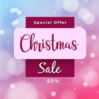 Banner de venta de navidad borrosa