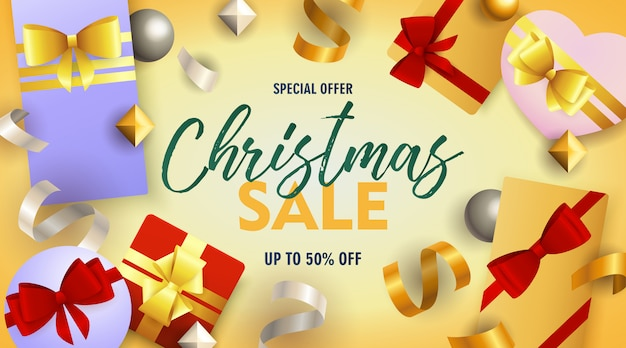 Banner de venta de navidad con cajas de regalo