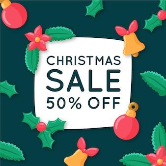 Banner de venta de navidad dibujado a mano
