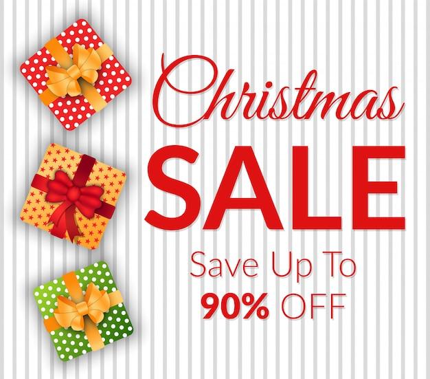 Banner de venta de navidad en diciembre, ahorre dinero en regalos