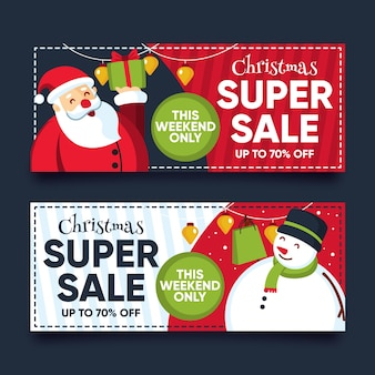 Banner de venta de navidad de diseño plano