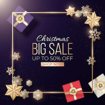 Banner de venta de navidad dorado