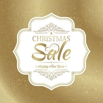 Banner de venta de navidad con elegante marco de diseño blanco en la moderna ilustración de vector de fondo dorado