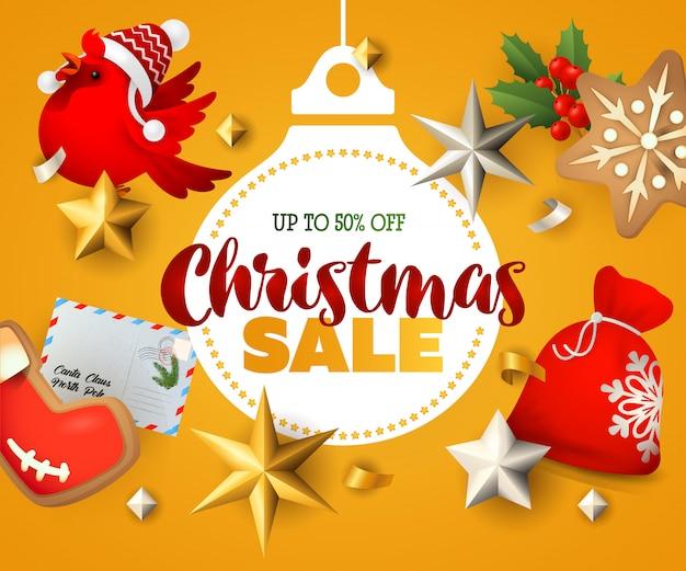 Banner de venta de navidad con elementos decorativos.