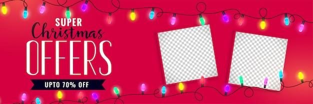 Banner de venta de navidad con espacio de imagen.