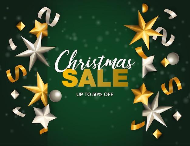 Banner de venta de navidad con estrellas y cintas en tierra verde