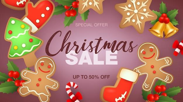 Banner de venta de navidad y galletas de jengibre