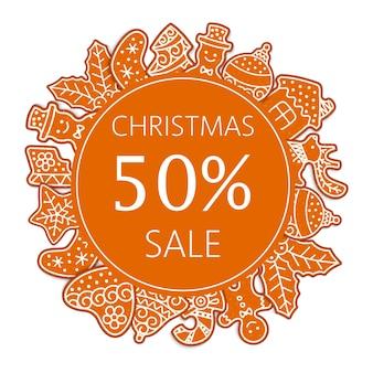 Banner de venta de navidad hecha de galletas de jengibre ilustración.