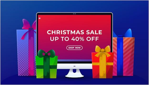 Banner de venta de navidad en línea.