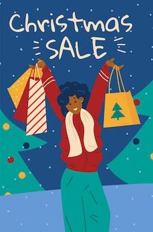 Banner de venta de navidad o cartel de diseño de flyer plano