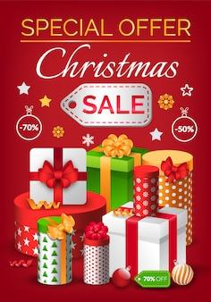 Banner de venta de navidad, oferta especial en diciembre en banner de regalo