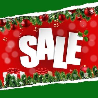 Banner de venta de navidad con papel rasgado