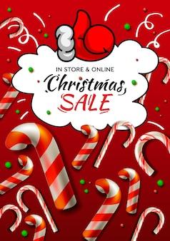 Banner de venta de navidad, plantilla de vector con bastón de caramelo de navidad para compras navideñas en línea.