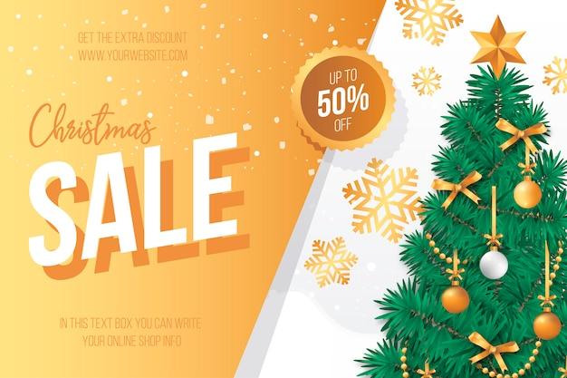 Banner de venta de navidad con un precioso árbol de navidad