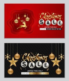 Banner de venta de navidad para publicidad comercial y promociones con adornos dorados brillantes