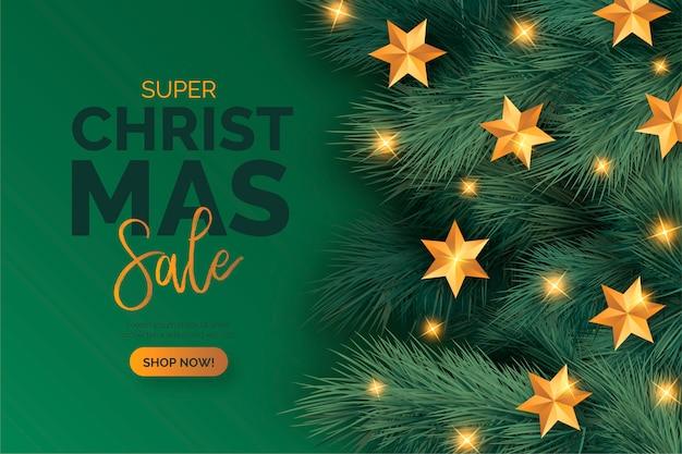 Banner de venta de navidad realista con adornos
