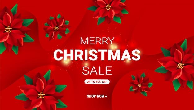 Banner de venta de navidad rojo minimalista moderno
