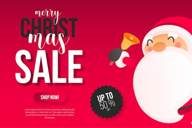 Banner de venta de navidad con santa lindo