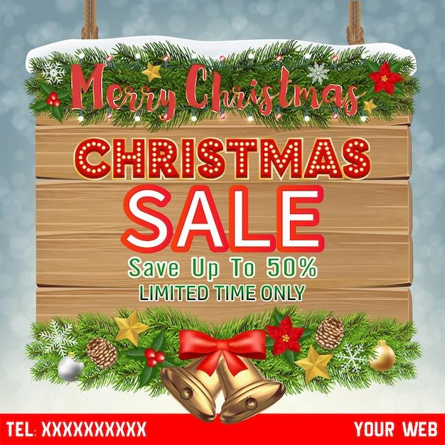 Banner de venta de navidad en tablero de madera colgante