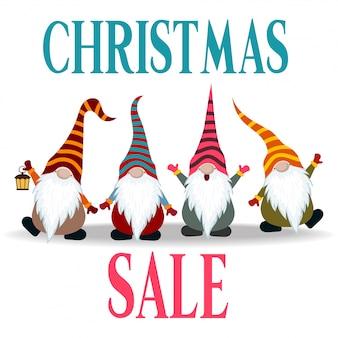 Banner de venta navideña con gnomos.