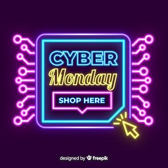 Banner de venta de neón cyber lunes