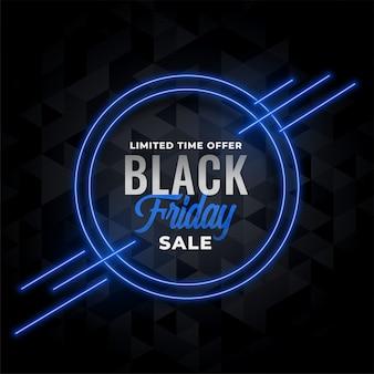 Banner de venta de neón para evento de viernes negro