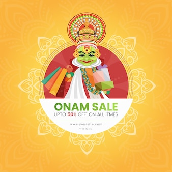 Banner de venta de onam con bailarina kathakali sosteniendo bolsas de compras y regalos