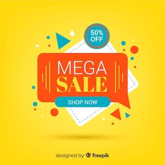Banner de venta de origami colorido