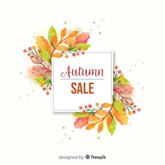 Banner de venta otoño acuarela