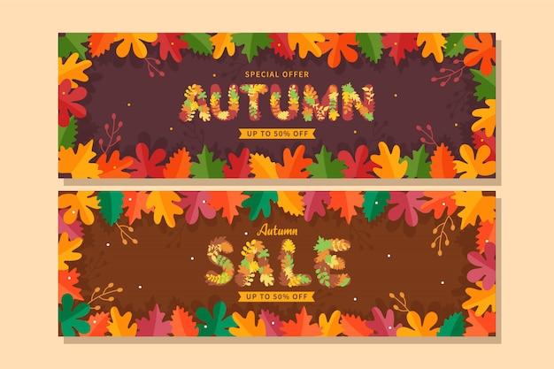 Banner de venta otoño colorido