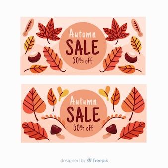 Banner de venta otoño dibujado a mano