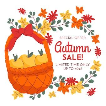 Banner de venta de otoño dibujado a mano