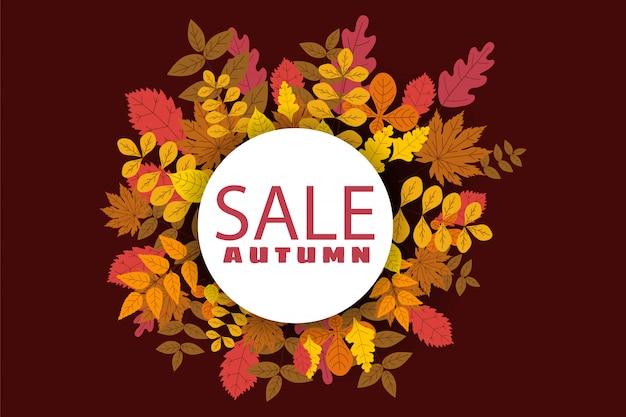 Banner para venta de otoño, diseño con hojas caídas.