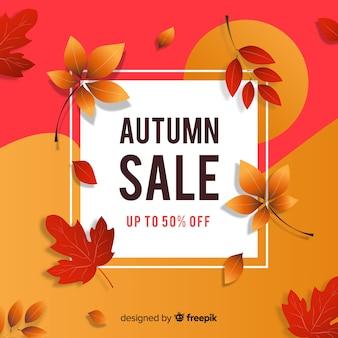 Banner de venta otoño diseño plano