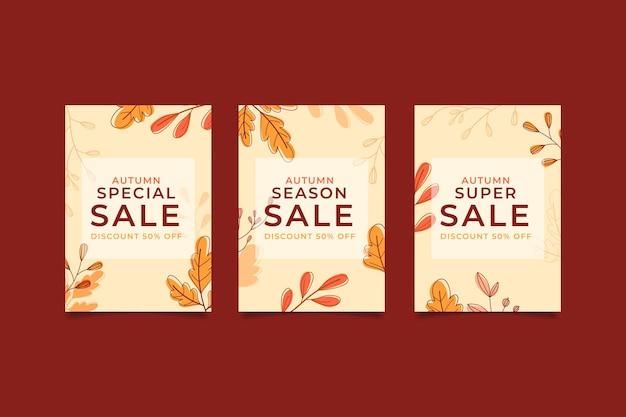 Banner de venta de otoño de diseño plano