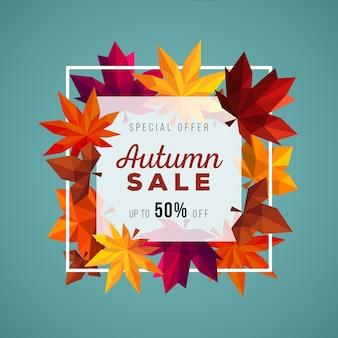 Banner de venta de otoño geométrico moderno