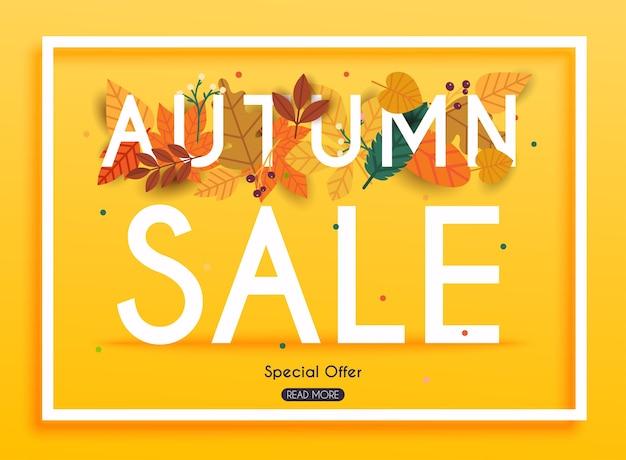 Banner de venta de otoño con hojas, cartel, folleto. ilustración.