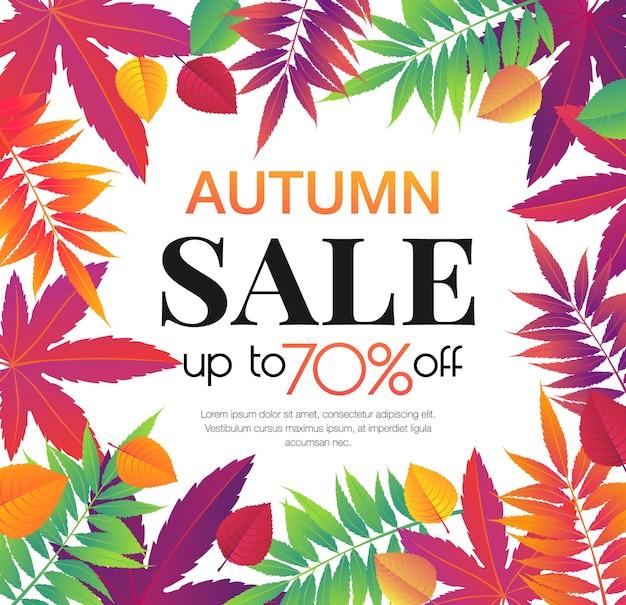 Banner de venta de otoño con hojas de otoño brillantes, diseño de promoción de temporada de otoño.