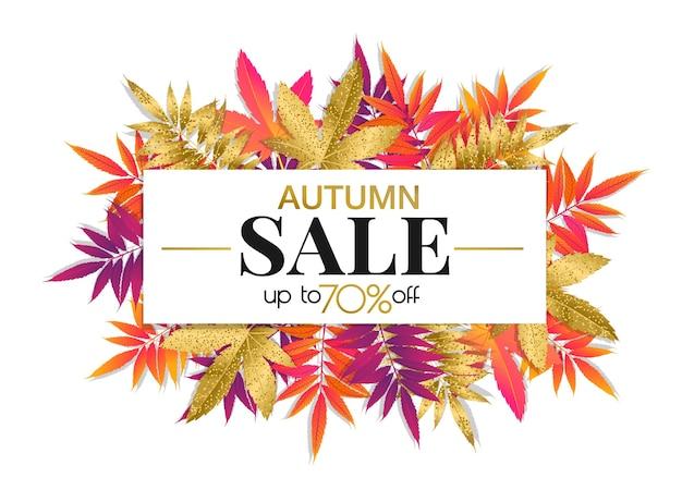 Banner de venta de otoño con hojas de otoño brillantes y doradas, promoción de la temporada de otoño