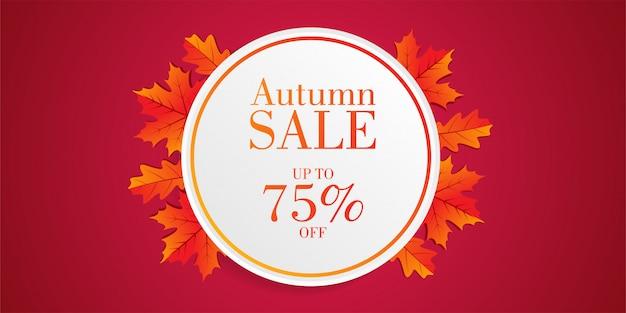 Banner de venta otoño con hojas