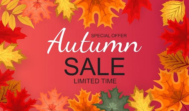 Banner de venta otoño ilustración vectorial abstracto con hojas de otoño cayendo