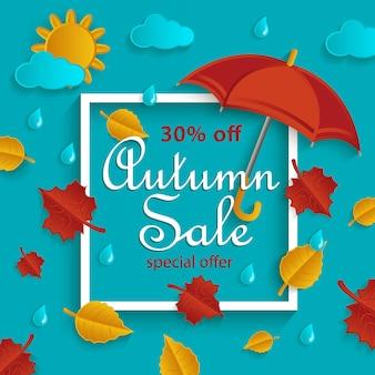 Banner de venta otoño con marco y otoño