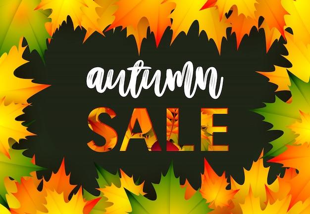 Banner de venta de otoño negro al por menor